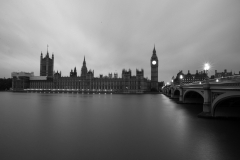 The Palace of Westminster, Thames River and Westminster Bridge - B&W - I