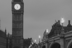 The Palace of Westminster, Thames River and Westminster Bridge - B&W - II